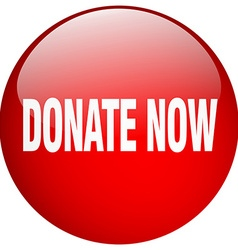 Donate now red round gel isolated push button vector
