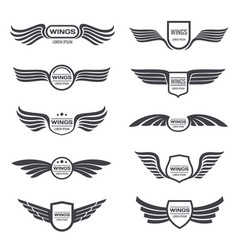 flying eagle wings logos set vintage vector image