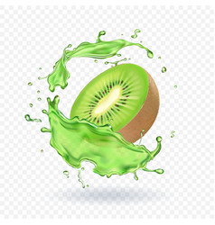 fresh kiwi fruit juice splashing realistic 3d vector image vector image