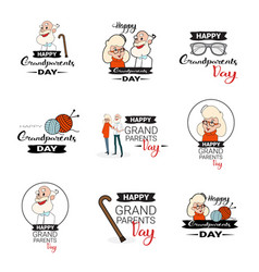 happy grandparents day greeting card banners set vector image vector image