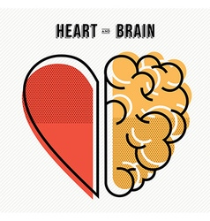 Heart and brain concept design in modern style vector