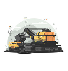 heavy machinery for coal mining vector image vector image