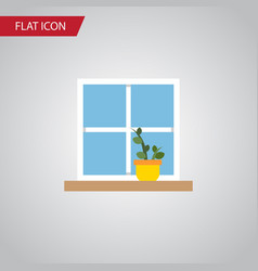 Isolated window flat icon flowerpot vector