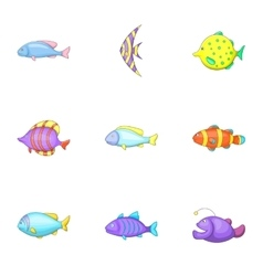 Marine fish species icons set cartoon style vector image vector image