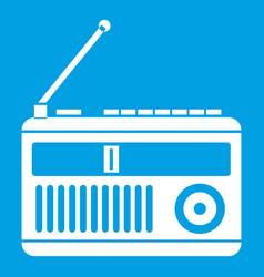 Retro radio icon white vector