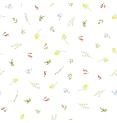 Seamless floral pattern with small camomiles vector