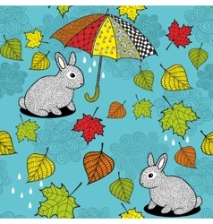 Seamless pattern with rabbit under the umbrella vector