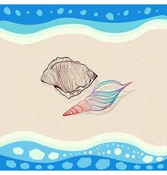 Seashells on sand with sea waves vector