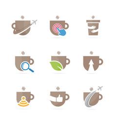 set of coffee logo combination drink and tea vector image vector image