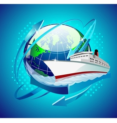 ship in front of the globe vector image