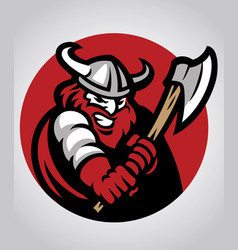 viking mascot swinging the axe vector image vector image
