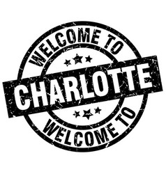 Welcome to charlotte black stamp vector