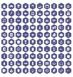 100 kitchen icons hexagon purple vector