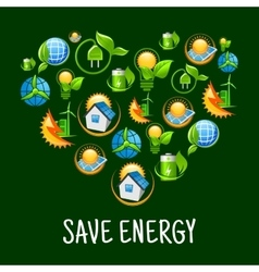 Eco heart with icons of save energy green power vector