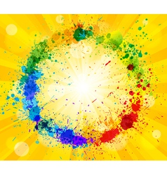 Bright sun and paint splashes vector