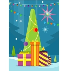 Christmas tree with presents and candles vector