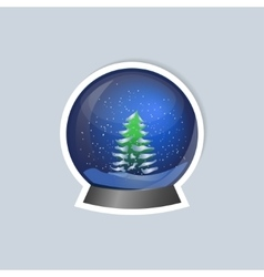 Sticker with a picture of a snow globe vector