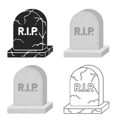 headstone icon in cartoon style isolated on white vector image
