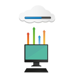 Computer uploaded to cloud vector