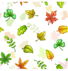 Seamless pattern with falling colorful leaves vector