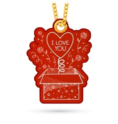 Present box with surpise label tag hanging on vector