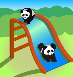Two pandas on a slide vector