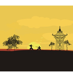 Fighting samurai silhouette at sunset asian vector