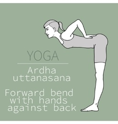 Ardha uttanasana forward bend with hands against vector