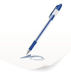 Image of blue ballpoint pen writing on paper vector