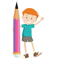 Little boy and giant pencil vector
