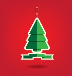 Christmas tree on red background vector image