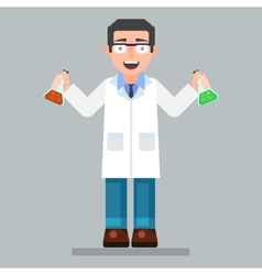 Scientist character wearing glasses and lab coat vector