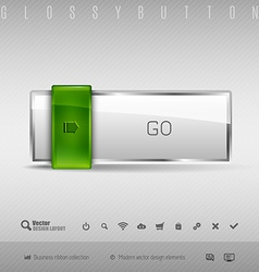 Design elements green and gray glossy button with vector