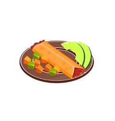 Burrito on plate vector