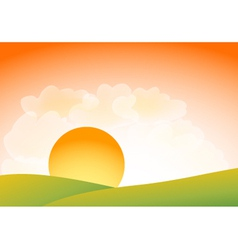Sunset over hills vector image