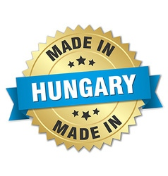 Made in hungary gold badge with blue ribbon vector