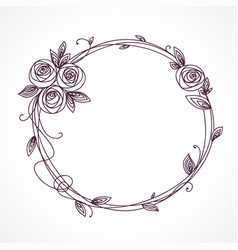 Abstract line elegant floral frame vector