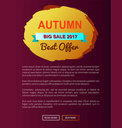 Autumn best choice 2017 offer round promo label vector
