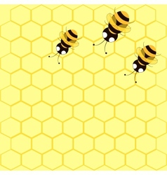 background with bees and honeycomb vector image