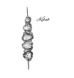 Black and white hand drawn kebab vector image vector image