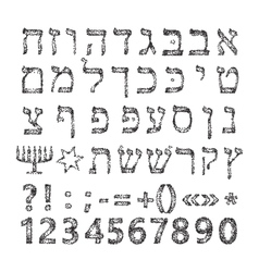 Black Hebrew alphabet of circles Font vector image