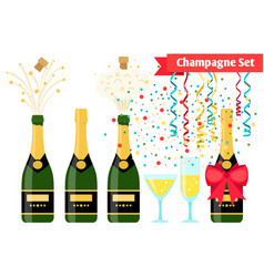 champagnes party elements champagne bottle and vector image