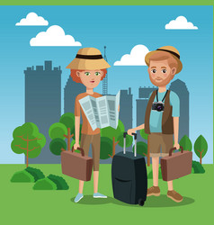 Couple tourist map luggage camera hat green field vector