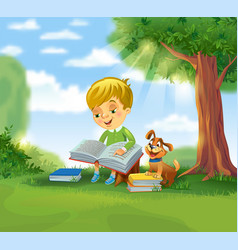 cute boy reading book vector image vector image