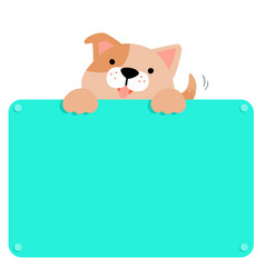 Cute brown dog hold blank board vector