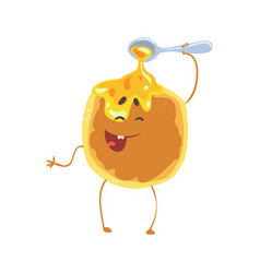 Cute cartoon pancake with honey and smiley face vector