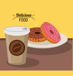delicious food sweet donuts with paper coffee cup vector image