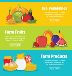 flat farm banners vector image vector image