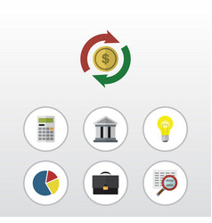 Flat icon incoming set of calculate scan bank vector