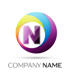 letter n logo symbol in the colorful circle on vector image